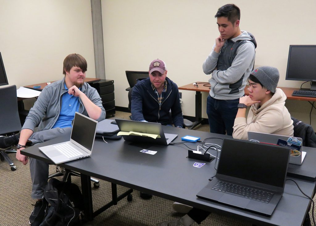 the Whaleback Anticline development team, in the UW Reality Lab Incubator, January, 2020 (photo by D. Kessler)